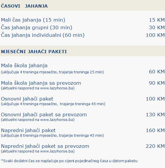 Casovi jahanja - mjesecni jahaci paketii - cijena
